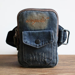 Blue Denim Cell Phone HOLSTER Arm Pouches for Men Arm Bags Arm HOLSTER For Men