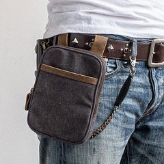 Canvas Mens Waist Bag Hip Pack Belt Bag Fanny Pack Bumbag Chest Bag Sling Bag for Men
