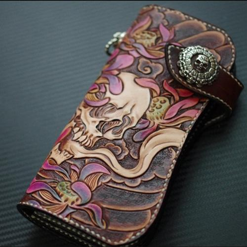 Handmade Leather Tooled Skull Mens Chain Biker Wallet Cool Leather Wallet With Chain Wallets for Men