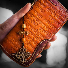 Handmade Leather Mens Tibetan Tooled Chain Biker Wallet Cool Leather Wallet Long Clutch Wallets for Men