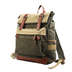 Army Green Canvas Leather Mens Large Backpack School Backpack Green Canvas Travel Backpack For Men