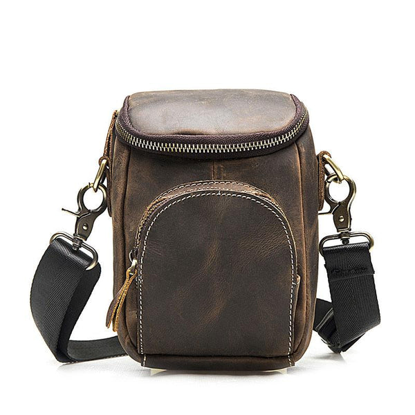 Leather Mens Cell Phone Holster Belt Pouch Mens Side Bag Shoulder Bag for Men