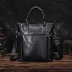 Black Leather Mens Vertical Work Bag Handbag Vertical Black Small Briefcase Shoulder Bag For Men