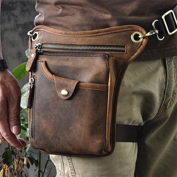 Vintage Brown Leather Men's Belt Pouch Drop Leg Bags Small Side Bag For Men
