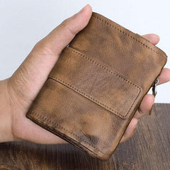 Handmade Mens Chain Biker Wallet Cool billfold Leather Wallet Men Small Wallets for Men