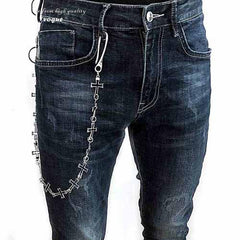 28'' Metal CROSS LOOPS BIKER SILVER WALLET CHAIN LONG PANTS CHAIN SILVER Jeans Chain Jean Chain FOR MEN
