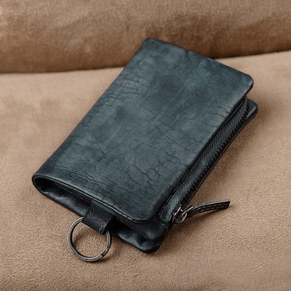 Handmade Mens Cool Leather Small KeyChain Wallet Men Small Wallet for Men