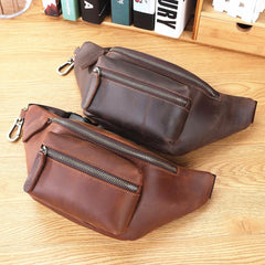 Brown MENS LEATHER FANNY PACK BUMBAG Hip Pack Brown Leather WAIST BAGS for Men