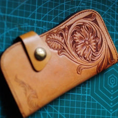 Handmade Mens Tooled Floral Leather Long Biker Wallet Cool Long Chain Wallet for Men