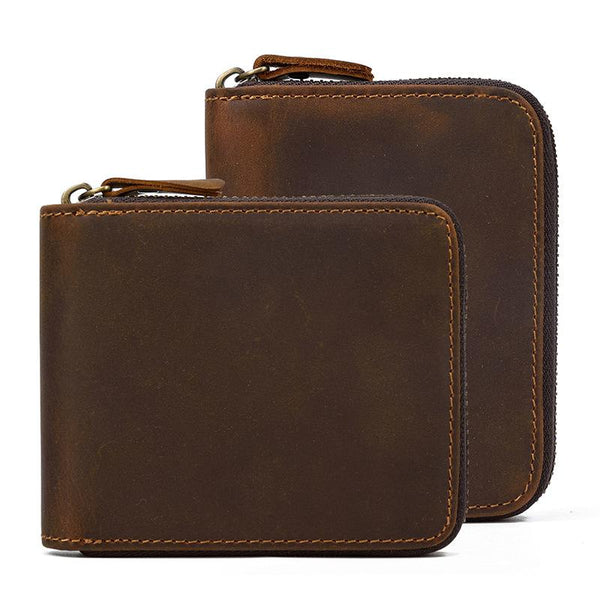 Brown Zip Leather Billfold Wallet for Men Bifold Wallet Vertical Zip Leather Small Wallet For Men