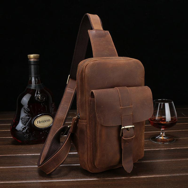 Vintage Leather Men's Sling Bag Chest Bag Sling Shoulder Bag For Men