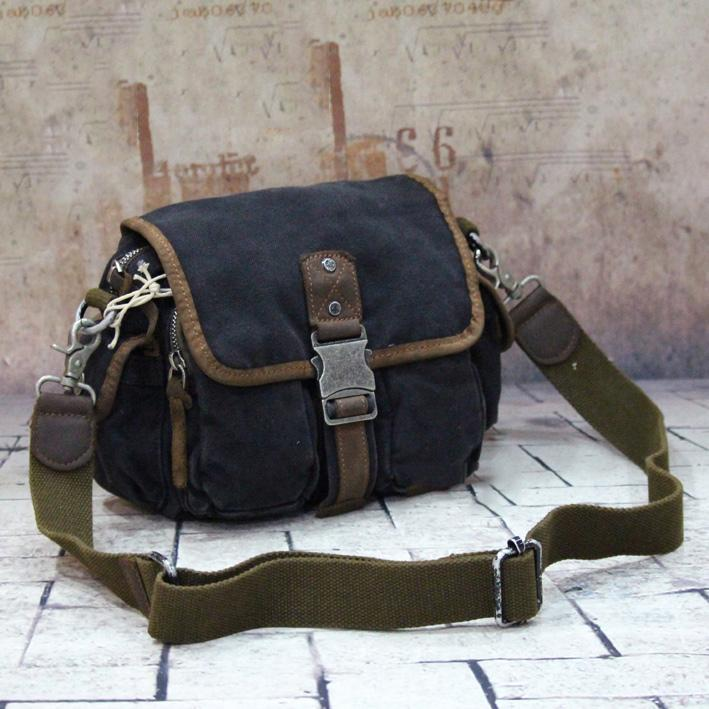 Canvas Black Mens Khaki Messenger Bags Small Postman Bag Canvas Courier Bag For Men