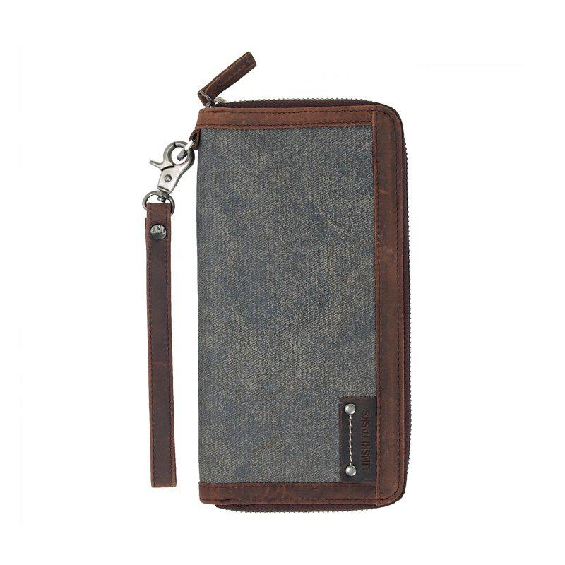 Casual Black Canvas Leather Men's Long Wallet Bifold Around Zip Wallets Clutch Purse For Men