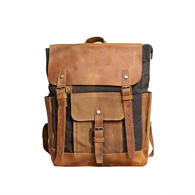 Canvas Leather Mens Backpack 15 inches Travel Backpacks Satchel Backpack Canvas School Backpack for Men