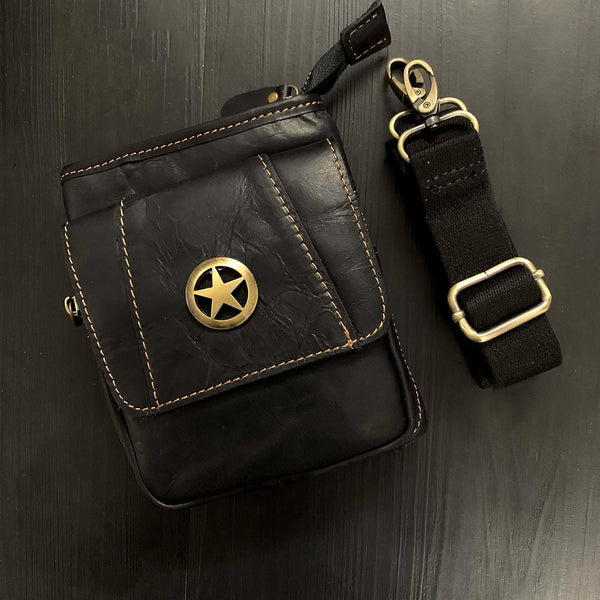 Cool Black Leather Men's Biker Belt Pouch Belt Bag Black Small Biker Side Bag For Men
