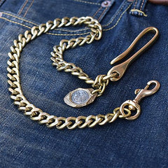 Cool Men's Brass 18�long �Jeans Chain Jean Chain Silver Biker Wallet Chain Pants Chains For Men