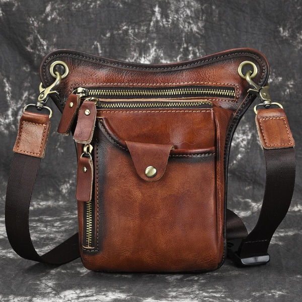 Vintage Brown Leather Men's CELL PHONE HOLSTER MINI SIDE BAG BELT POUCH Drop Leg Bag For Men