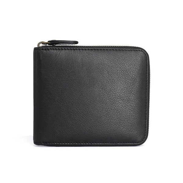 Leather Mens Black Zipper Small Wallet Front Pocket Wallet Small Wallet for Men