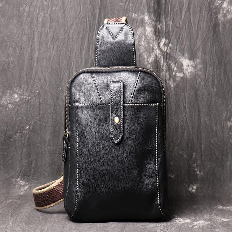 Fashion Black Leather Sling Backpack Men's Sling Bag Black Chest Bag One shoulder Backpack Black Sling Pack For Men