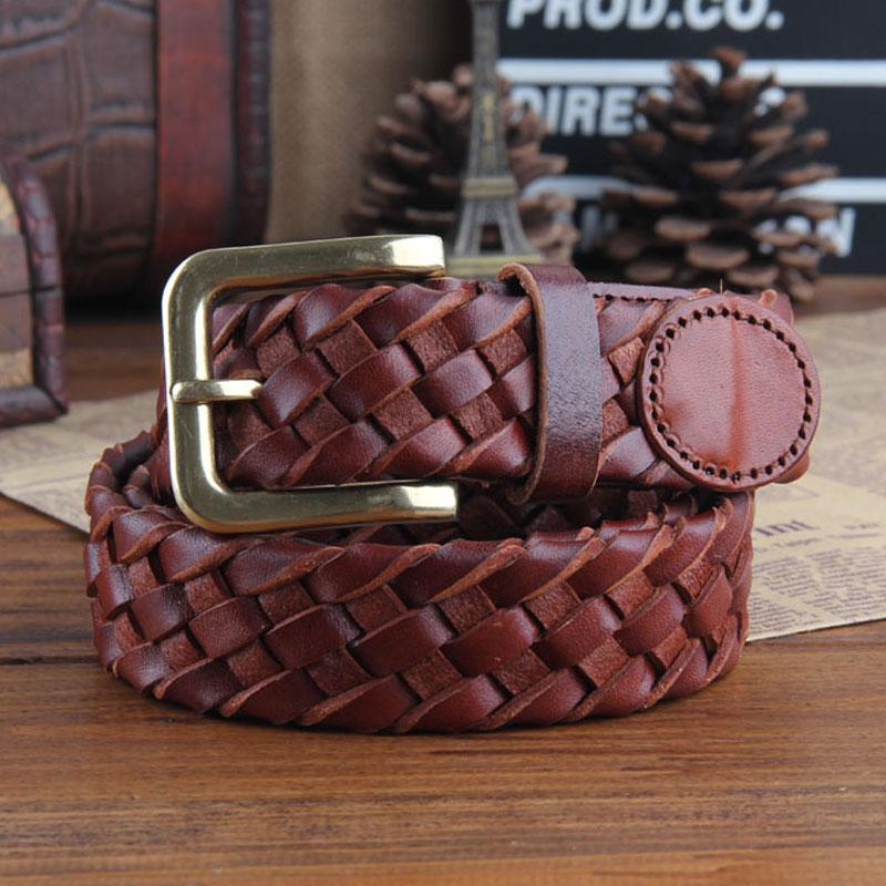 Genuine Leather Braided Punk Rock Biker Trucker Mens Belt Men Black Coffee Belt for Men