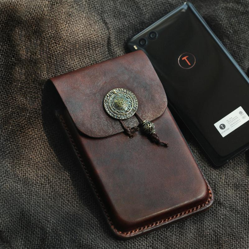 "Cool Handmade Coffee Leather Mens Holster 6"" Cellphone case phone pocket With Belt Loop For Men"
