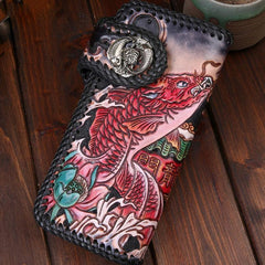 Handmade Leather Carp Mens Tooled Long Chain Biker Wallet Cool Leather Wallet With Chain Wallets for Men