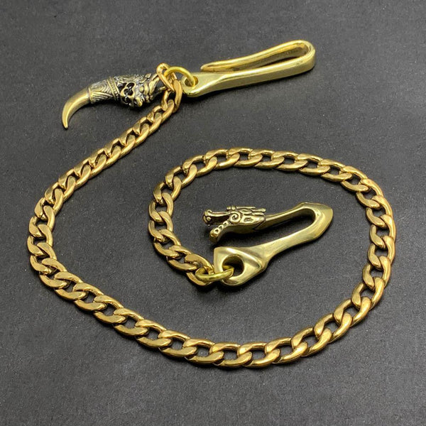 "Fashion Pure Brass 18"" Dragon Hooks Pants Chain Wallet Chain Motorcycle Wallet Chain for Men"