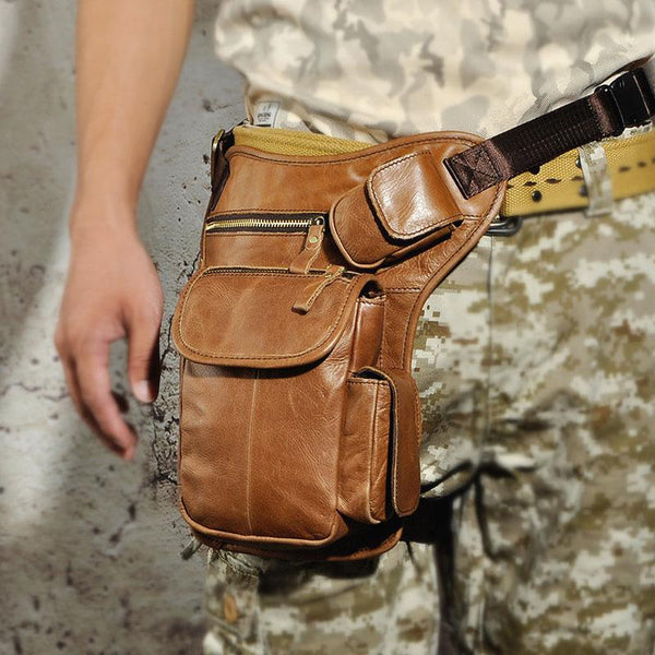 Cool Biker Mens Leather Drop Leg Bag Waist Bag Side Bag Belt Pouch Shoulder Bag for Men