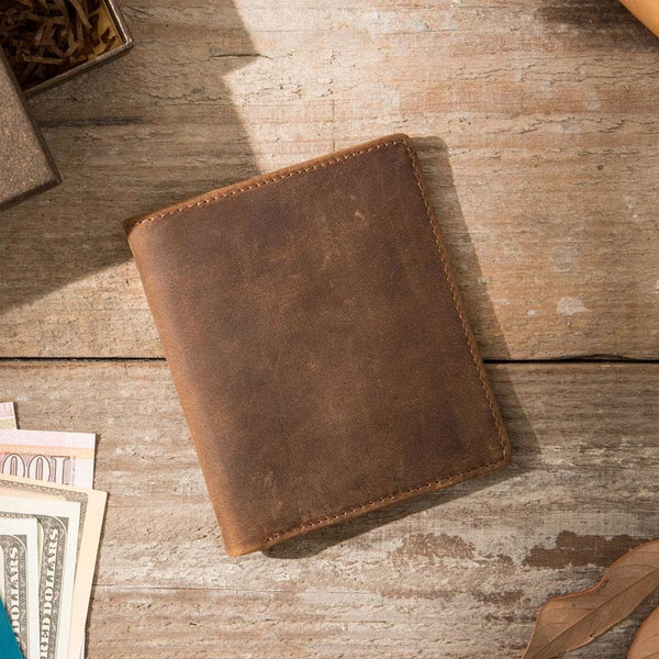 Coffee Cool Leather Mens Small Wallets Bifold Vintage Slim Short Wallet for Men