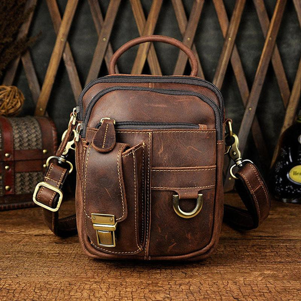 541572d65e2a Mens Leather Small Side Bag COURIER BAG Waist Bag Holster Belt Case Belt  Pouch for Men