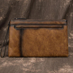COOL MEN LEATHER Brown Wristlet Bag LONG CLUTCH WALLETS ZIPPER VINTAGE Tan Envelope Bag FOR MEN