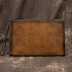 COOL MEN LEATHER Yellow Wristlet Bag LONG CLUTCH WALLETS ZIPPER VINTAGE Brown Envelope Bag FOR MEN