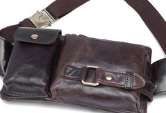 GENUINE LEATHER MENS SMALL CHEST BAG SLING BAG WAIST BAG HIP PACK BELT BAG FANNY PACK BUMBAG FOR MEN
