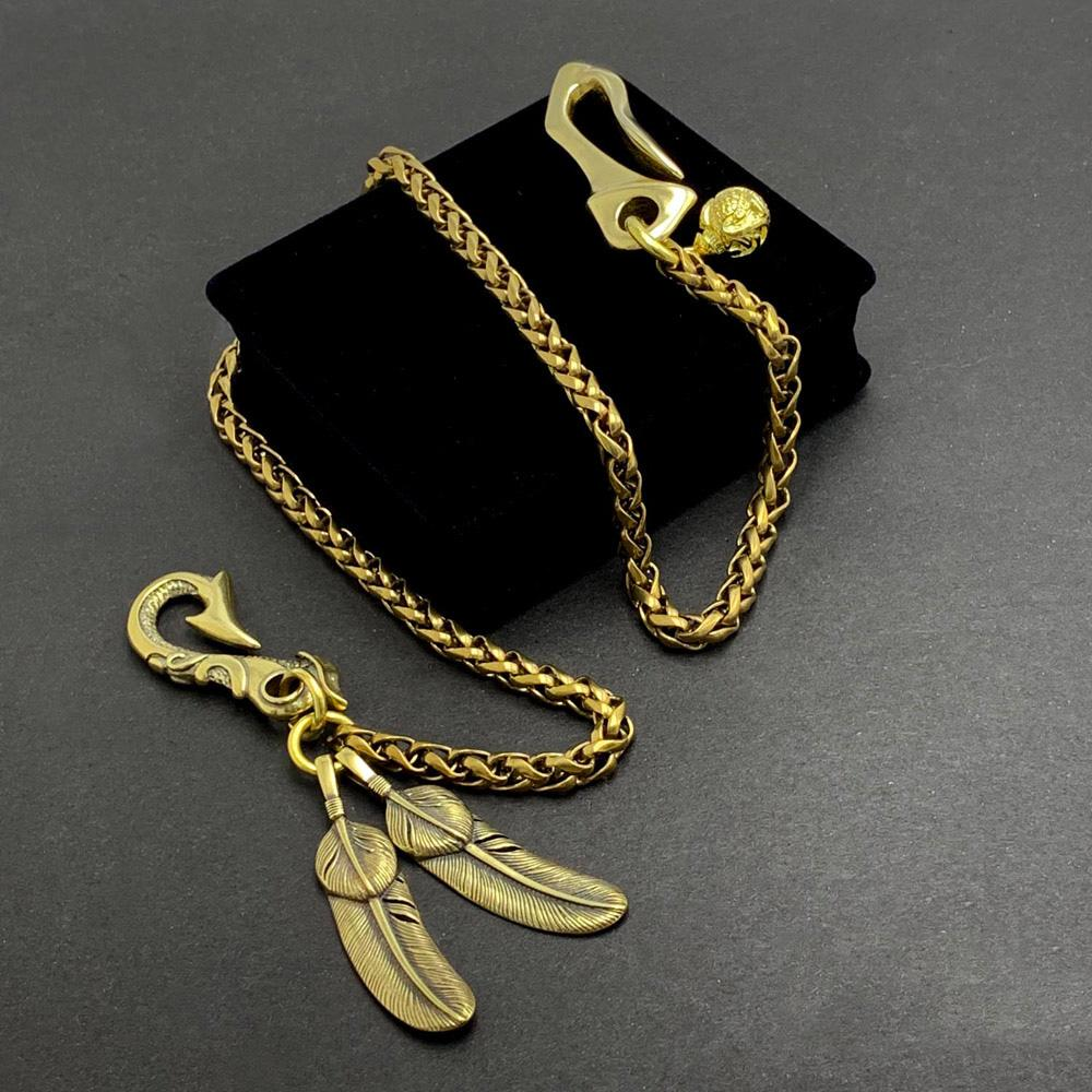 "Fashion Handmade Vintage Brass 18"" Feather Key Chain Pants Chain Wallet Chain Motorcycle Wallet Chain for Men"