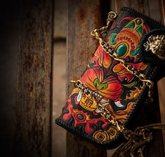 Handmade Leather Monster Mens Chain Biker Wallet Cool Leather Wallet Long Tooled Wallets for Men