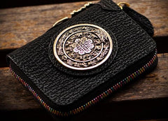 Handmade Leather Biker Wallet Mens Cool Short Chain Wallet Trucker Wallets with Chain