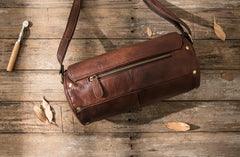 Cool Small Mens Leather Barrel Bag Messenger Bags Shoulder Bags  for Men