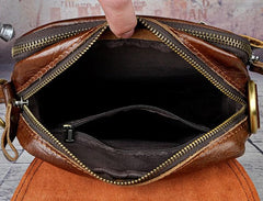 Cool Vintage Leather Mens Small Side Bag Messenger Bag Shoulder Bags for Men