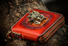 Handmade Mahākāla Small Leather Brown Biker Wallet Mens Cool Short Chain Wallet Trucker Wallet with Chain