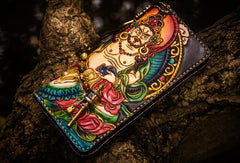 Handmade Leather Tooled Yellow Jambhala Mens Biker Chain Wallet Cool Leather Wallets Zipper Long Phone Wallets for Men