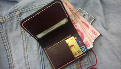 Coffee Vintage Leather Mens Small Wallet Leather Bifold Wallets for Men