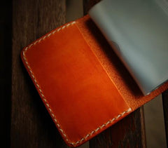 Handmade Leather Mens Cool Short Wallets Card Holder Small Card Slim Wallets for Men