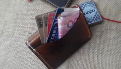 Vintage Leather Mens Slim Front Pocket Bifold Small Wallets Card Wallet for Men