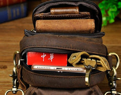 Leather Mens Belt Pouch Cell Phone Holster BELT BAG mini Shoulder Bag For Men