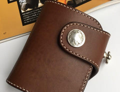 Handmade Leather Short Biker Wallet Mens Cool Short Chain Wallet Trucker Wallet with Chain