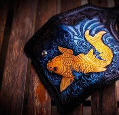 Handmade Leather Carp Mens Chain Biker Wallet Cool Leather Tooled Long Chain Wallets for Men