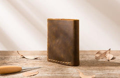 Cool Handmade Leather Mens Small Wallets Bifold Vintage Short Wallet for Men
