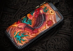 Handmade Leather Tooled Carp Mens Chain Biker Wallets Cool Leather Wallets Long Phone Wallets for Men