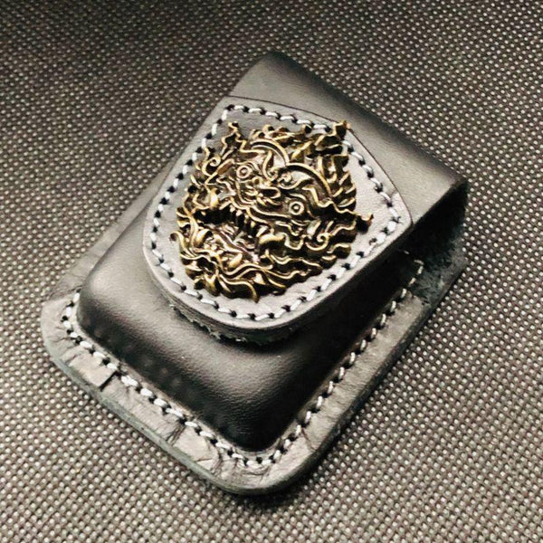 Black Handmade Leather Mens Monster Zippo Lighter Holders Lighter Case For Men