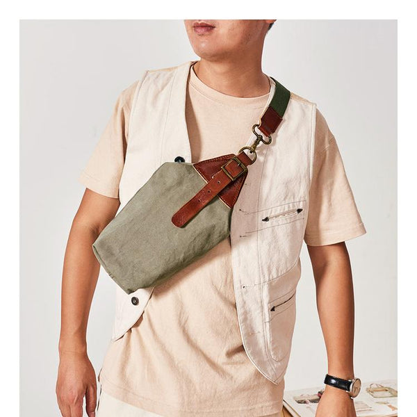 Cool Canvas Leather Mens Sling Pack Chest Bag Canvas Sling Backpack Sling Bag For Men